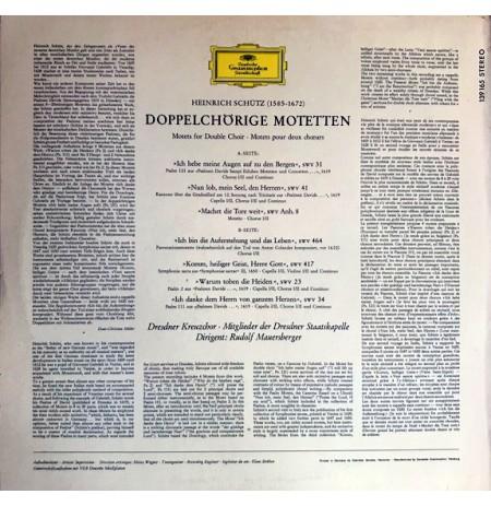 HEINRICH SCHUTZ ~ Doppelchörige Motetten KLASİK LP.