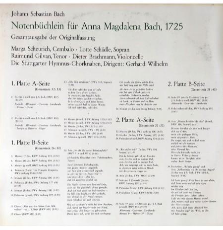 Johann Sebastian Bach, Notenbüchlein Für Anna Magdalena Bach, 1725 KLASİK LP.