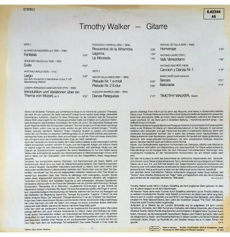 TIMOTHY WALKER GITARRE MUDARRA VIVALDI SOR TARREGA VILLA, LOBOS LP.