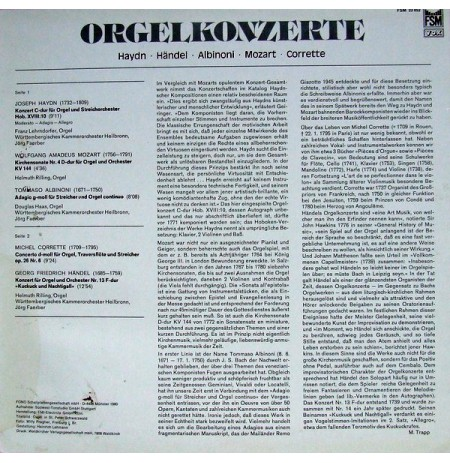 Württembergisches Kammerorchester, Jörg Faerber  Orgelkonzerte LP.